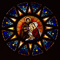 Holy Family Stain Glass Window